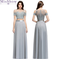 robe de soiree Long Two Pieces Silver Evening Dress 2018 Embroidery Evening Dresses With Beading Formal Evening Gowns For Women