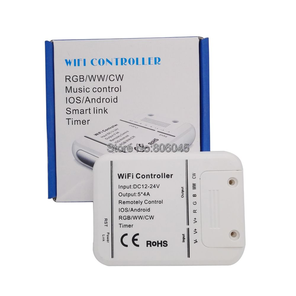 DC12V 24V 20A Wifi LED Controller RGB/RGBW/RGBWW 16 Million Color Music & Timer Mode Wifi APP Control by iOS/Android Smartphone image