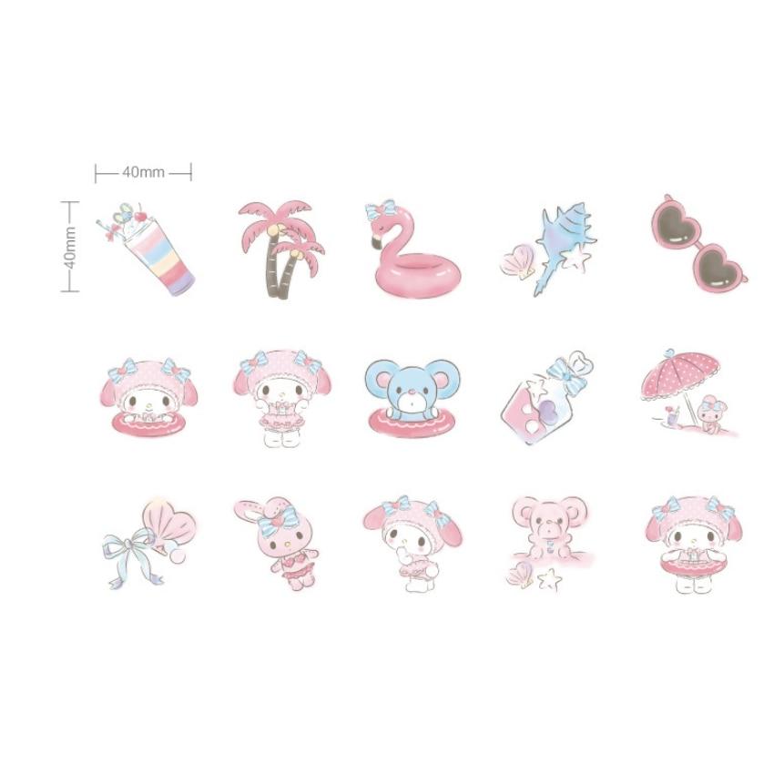 Купить с кэшбэком 20packs/lot Cute Melody On The Beach Paper Stationery Deco Children Sticker Scrapbook Decorative Diary Label Wholesale
