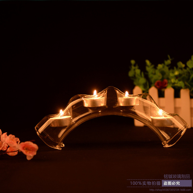 Fashion 4 Holes Bridge Gl Candle Holders Transpa Candlestick Dinner Home Decoration Lotus Holder