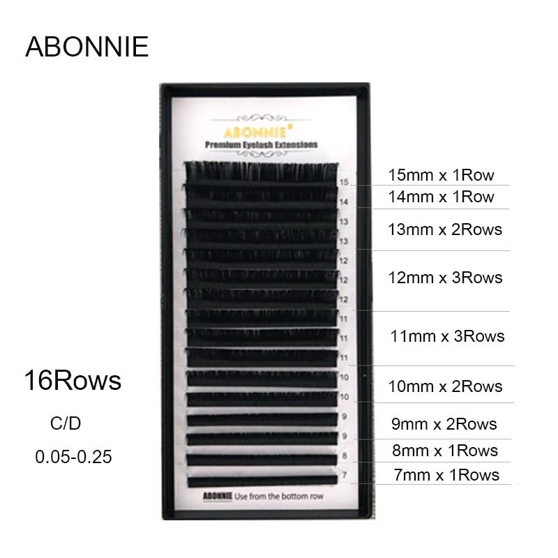 Abonnie, 16 fileiras, 7-17mm falso vison extensão individual dos cílios, cílios cílios extensão para profissionais, cílios macios
