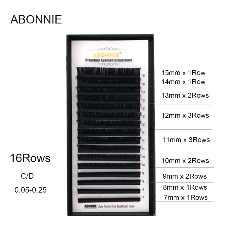 ABONNIE,16Rows,7-17mm Faux Mink Individual Eyelash Extension, Cilia Lashes Extension For Professionals,soft Mink Eyelash