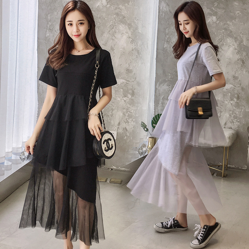 Summer Maternity Nursing Long Mesh Breastfeeding Dress Clothes For Pregnant Women Pregnancy Feeding Clothes Cake Dresses Out