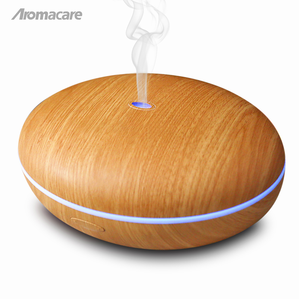 Aromacare 400ml Essential Oil Diffuser Ultrasonic Air Humidifier dengan Wood Grain 7 Warna Menukar Lampu LED untuk Rumah Pejabat