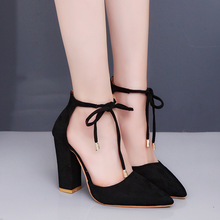 34-43 Solid Nude Casual Pumps Women Sandals Flock Ankle Strap Pointed Toe 10.5cm High Thick Heels Party Female Shoes Plus Size