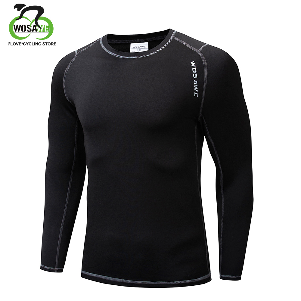 WOSAWE Men Women Cycling Base Layers Bodybuilding Fitness Long Sleeve Tight Thermal Shirts Riding Sport Underwear Jersey