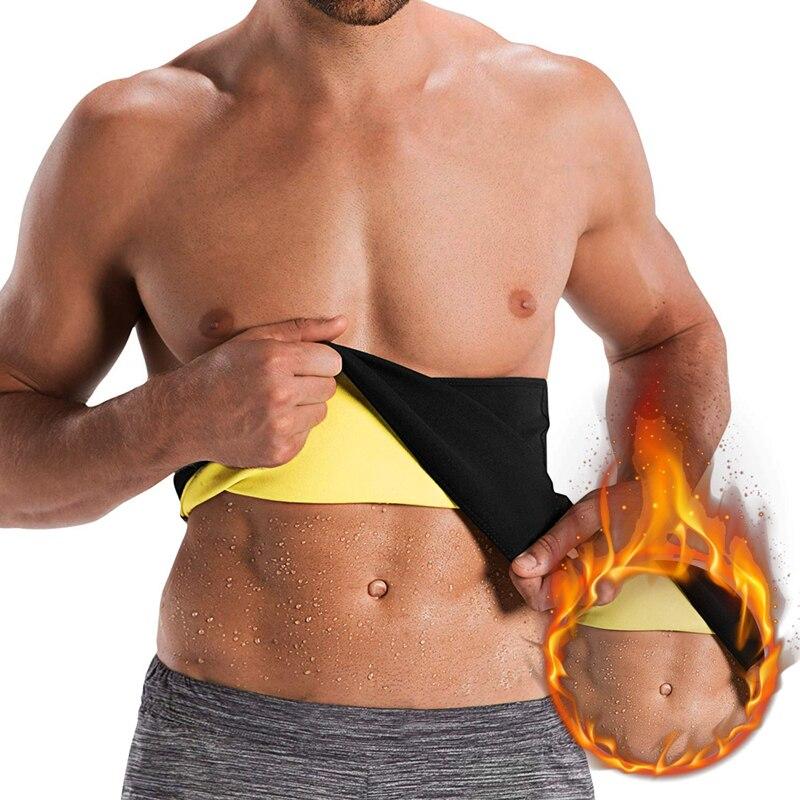 SHUJIN 2019 Men's Slim Fit Hot Yoga Belt Waist Trimmer Muscle Sweat Abdomen Shaper Belt Wrap Homme   Tank     Tops   For Weight Loss