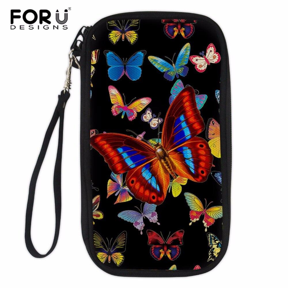 FORUDESIGNS Butterfly Print Women Passport Cover Girls Card Crossbody Bag Ladies Hand Holding Wallet Multifunction Money Bag