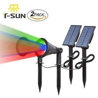 T SUNRISE 2PACK Solar Spotlights 7 LED Outdoor Color Changing Landscape Lights Adjustable For Tree Patio