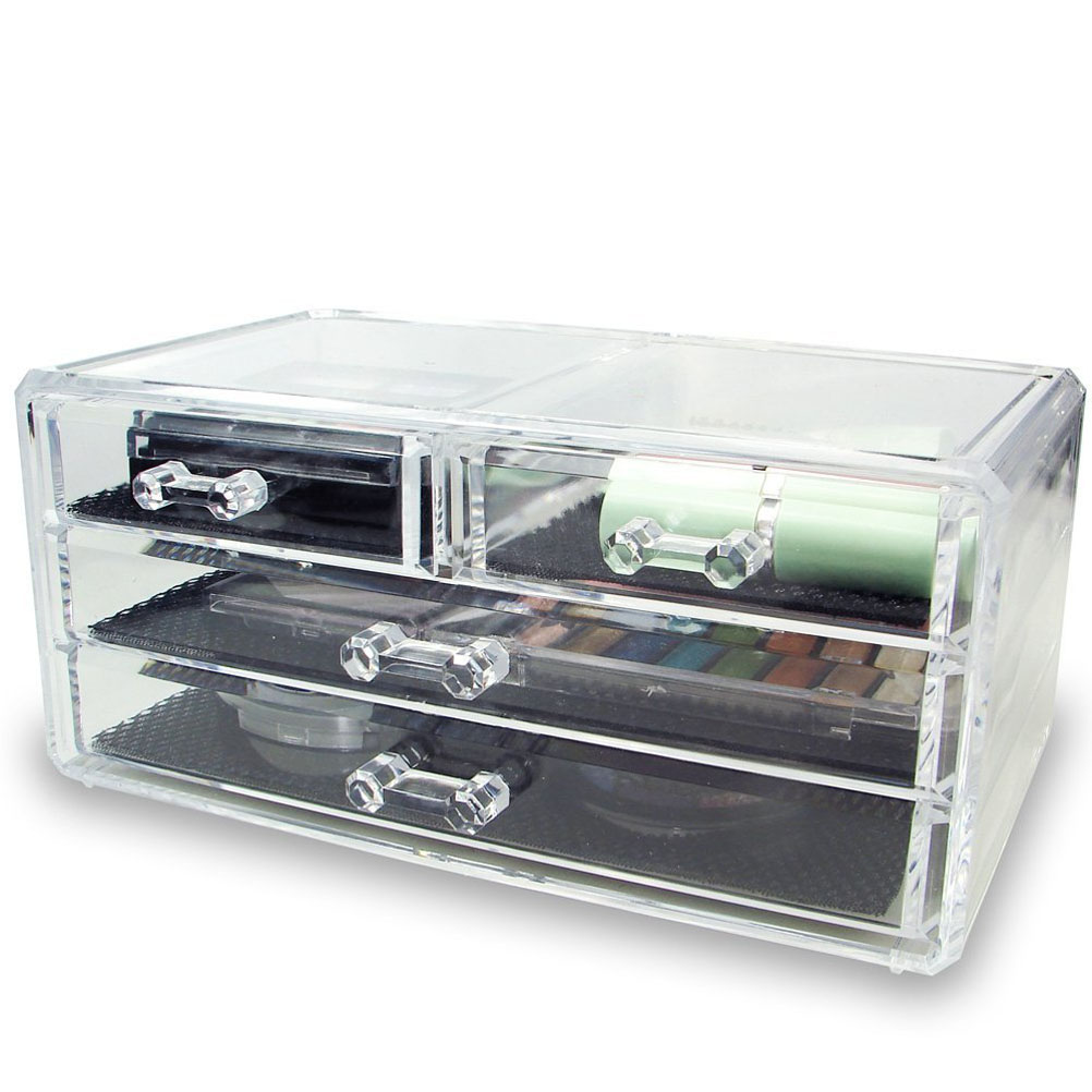 Novelty 3-Layer Clear Acrylic Drawers Style Makeup Cosmetics Jewelry Storage Box Case Organizer acrylic cosmetics makeup and jewelry storage box 3 small drawers space saving