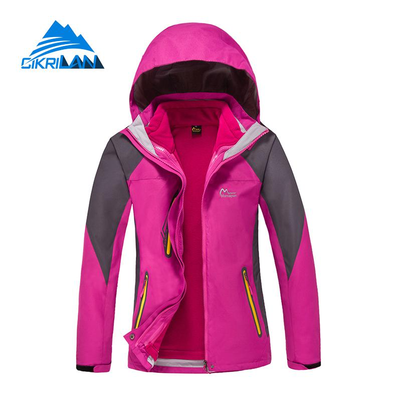 Winter 3in1 Waterproof Jaqueta Feminina Climbing Coat Outdoor Camping Hiking Ski Jacket Women Windbreaker Casaco Fleece Lining hot sale camping climbing kids 3in1 outdoor sport waterproof jacket girls boys hiking coat ski casaco 8 16y child fleece liner