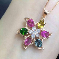 natural multicolor tourmaline pendant S925 silver Natural gemstone Pendant Necklace trendy Claw Starfish star women jewelry