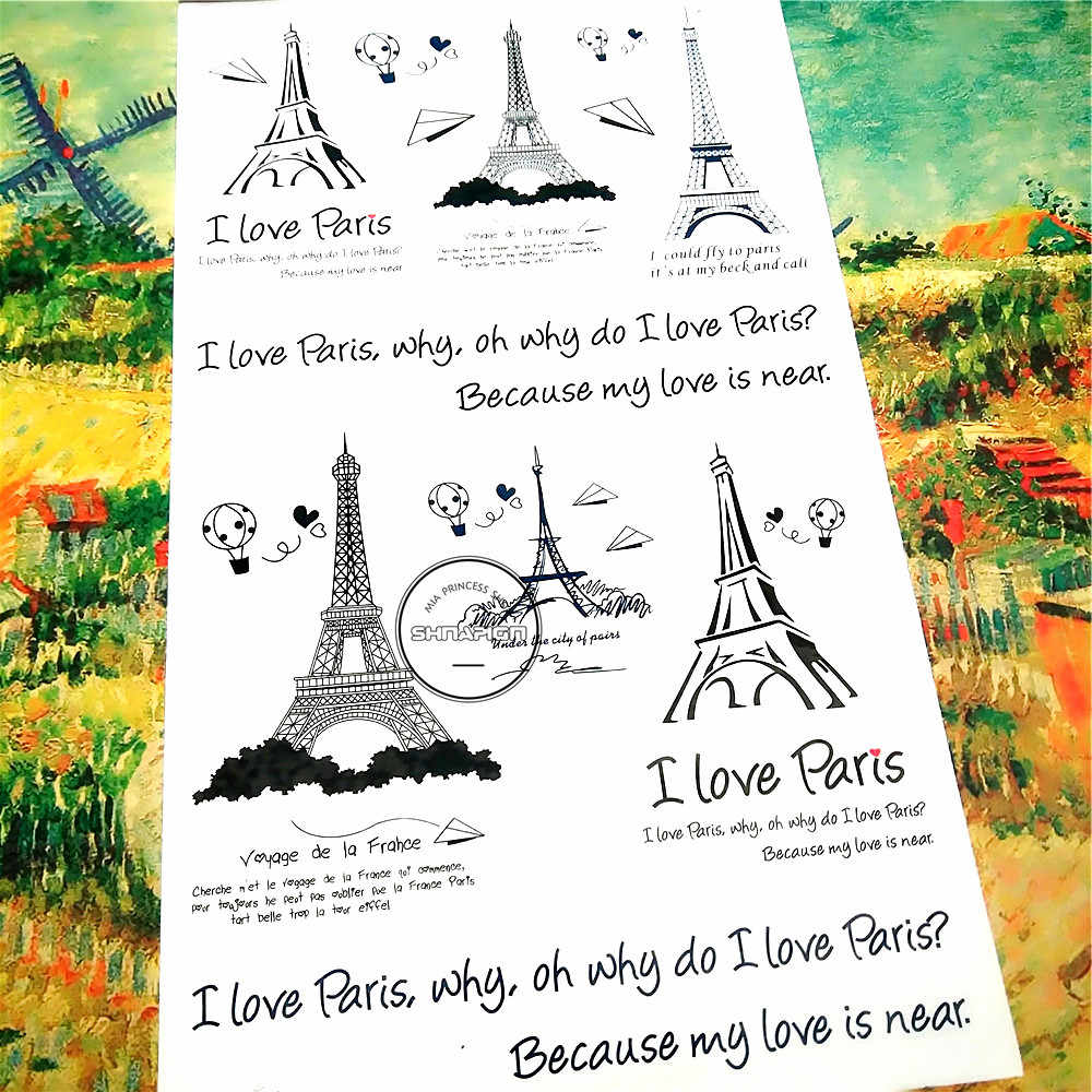 Shnapign Black Eiffel Tower Temporary Tattoo Body Art Arm Flash Tattoo Stickers 17 10cm Waterproof Fake Henna Painless Sticker Sticker Posters Sticker Shirtssticker Toy Aliexpress