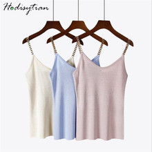 Hodisytian Summer Knitted Women Camis Spaghetti Strap Tanks Top Sexy Female Shiny Camisole Short Crop Tops Bling Metal Chain