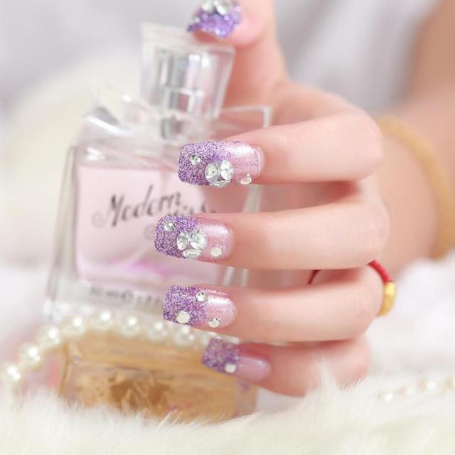 Purple Fake Nails Glitter Designs 3D Artificial Shinning Rhinestone ...