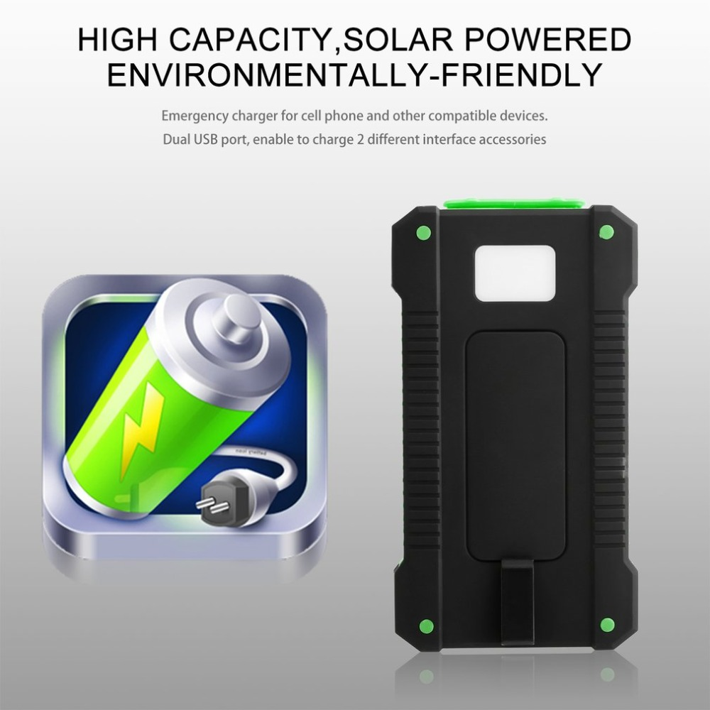 Waterproof Durable 300000mAh Power Bank Portable Solar Powered Charger Dual USB Battery Power Bank for Outdoor Emergency