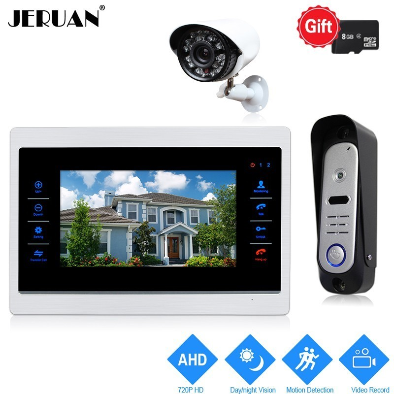 JERUAN 10 inch 720P Video Door Phone Doorbell Intercom System Record Monitor +1.0MP COMS Camera With Motion Detection+AHD Camera jeruan ip wifi 7 inch touch screen video doorbell intercom system kit 720p ahd record monitor ir coms camera support android ios