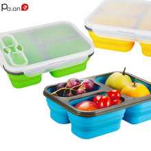Silicon Lunch Box with Fork microwave Foldable Office Kids Bento Tiffin Portable Large Capacity 3 Grid Food Container Meal Prep(China)