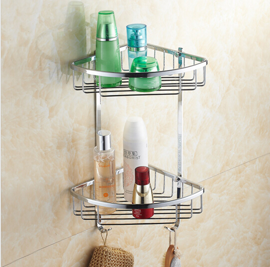 Top quality brass chrome dual tie bathroom Corner shelves with robe hook basket holder bathroom soap holder bath shampoo shelf wall mounted chrome bathroom soap dish brass bath shower shelf new arrivals bath shampoo holder basket holder building material