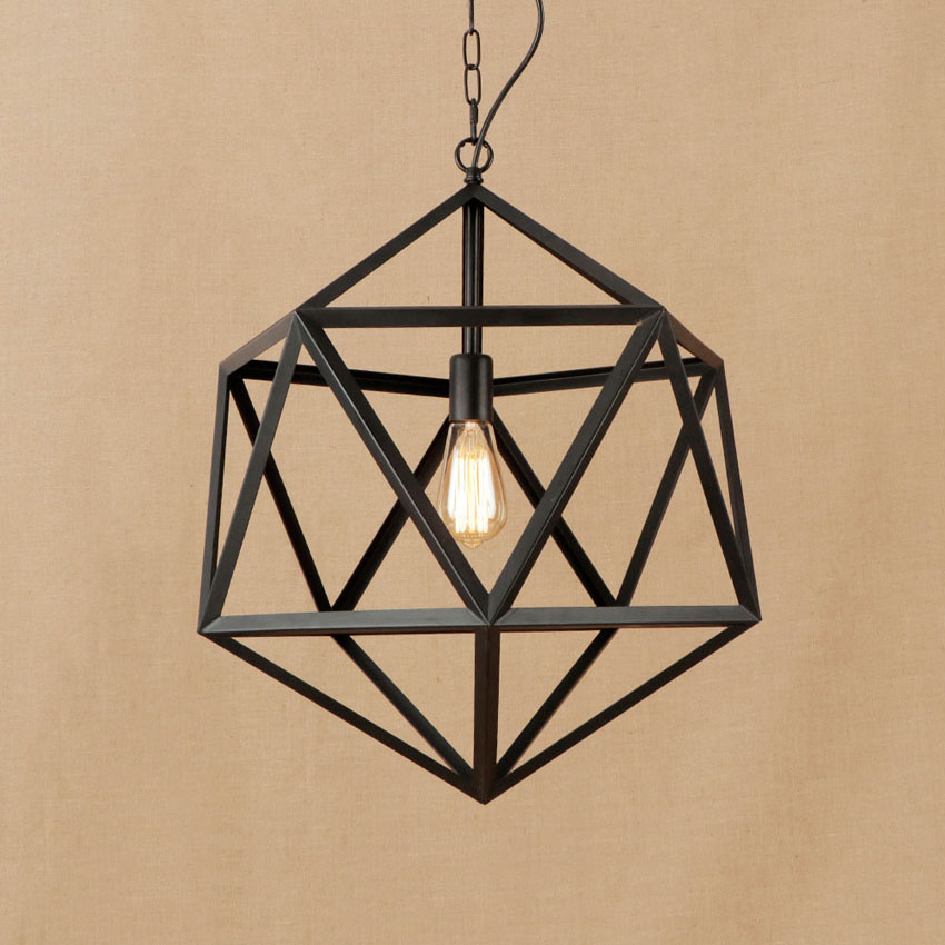 Industrial style iron Diamond Pendant light dia 40 46cm metal cage Geometric vintage chain pendant lamp for restaurant cafe bar vintage iron pendant light industrial lighting glass guard design cage pendant lamp hanging lights e27 bar cafe restaurant