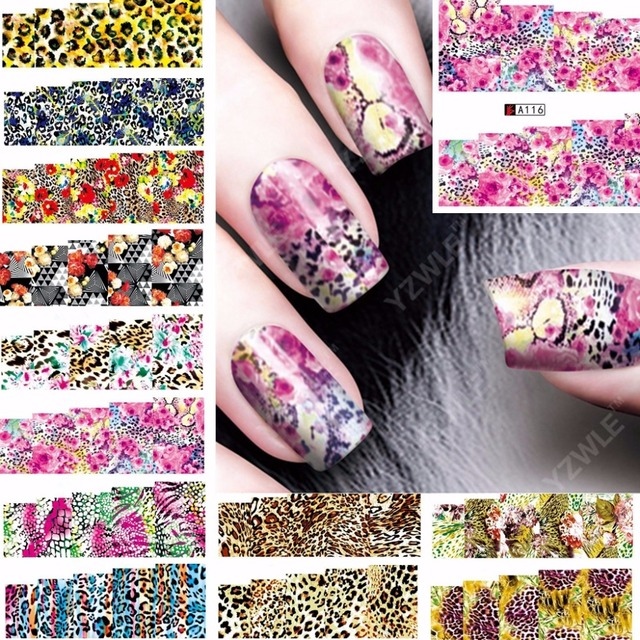 12 sheets leopard design Nail Art Full cover Water Transfer decals ...