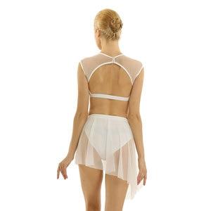 Image 4 - Robe de ballerine pour femme, déguisement de danse lyrique, contemporain asymétrique, hauts court et croisé avec jupe pour le Ballet