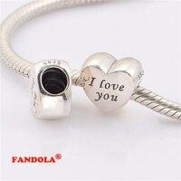 Pasuje pandora charms bransoletki słowa miłości koraliki 925 sterling silver biżuteria darmowa wysyłka