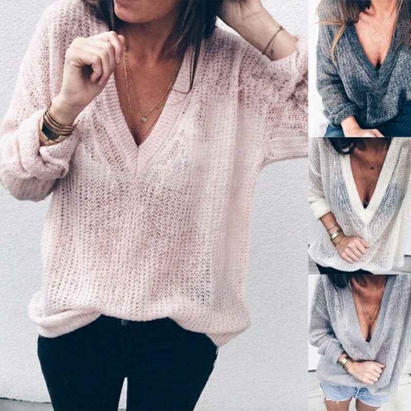 Sexy Winter Knitted Sweater V Neck Cashmere Sweater Female 2019 Women Sweaters And Pullovers Autumn Long Sleeve Sweater Plus 5XL