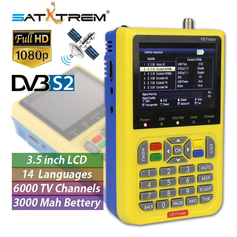 SatXtrem V8 Finder DVB S S2 Digital Satellite TV Finder Decoder Full HD 1080P 3.5 inch 3000mA Battery Sat TV Meter Receiver