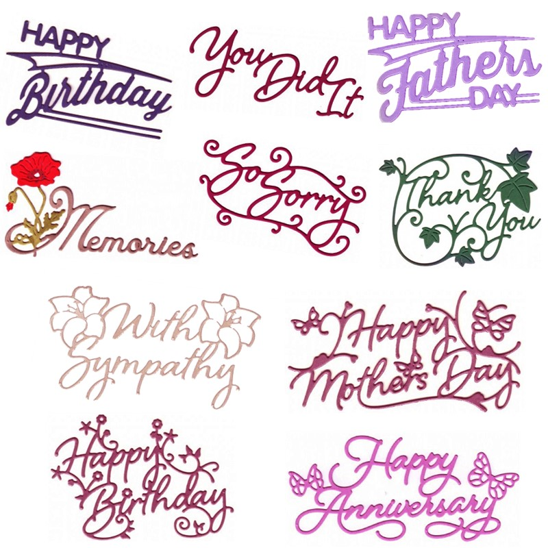 You Did It Memories So Sorry With Sympathy Happy Birthday Phrases Metal Cutting Dies for DIY Scrapbooking Cards Crafts 2019 New