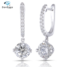 DovEggs Sterling Solid 925 Silve Center 6.5mm GH Color Hearts and Arrows Cut Lab Grown Moissanite Halo Hoop Earrings with Accent