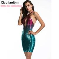 Summer European Deep V Lead Sexy Club Neck Short Dress Paillette Gradual Change Color Dew Back