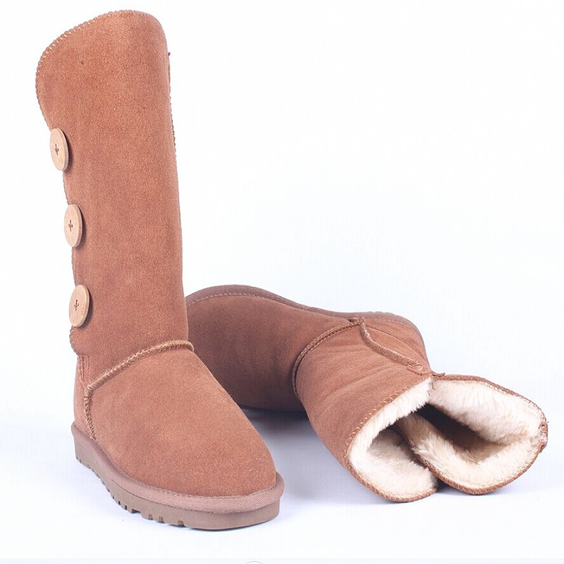 Women Winter Boots Snow Boots high Winter Ankle Boots Genuine Leather women Shoes Plush Warm Botas Femininas 3 buckle