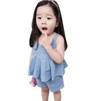 Summer 2017 2PCs Kids Girl's Costume Set Clothing Jumper Dress + Casual Short Suits Princess Dresses