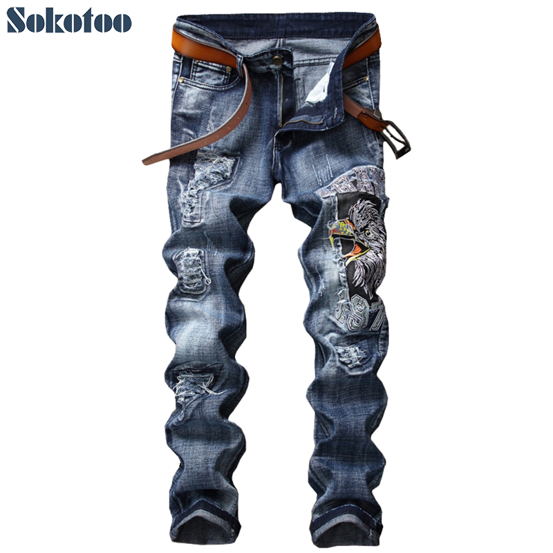 Sokotoo Men's eagle embroidery slim straight jeans Fashion blue hawk embroidered ripped pants mikado груши половинками в сиропе 850 мл