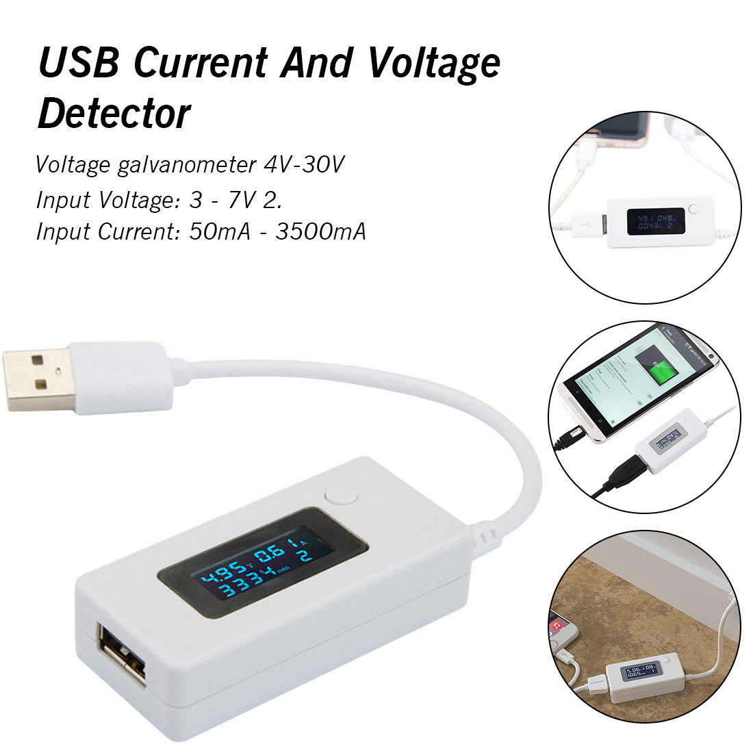 USB Current And Voltage Detector LCD Digital Phone USB Tester Portable Battery Detector Battery Capacity Tester