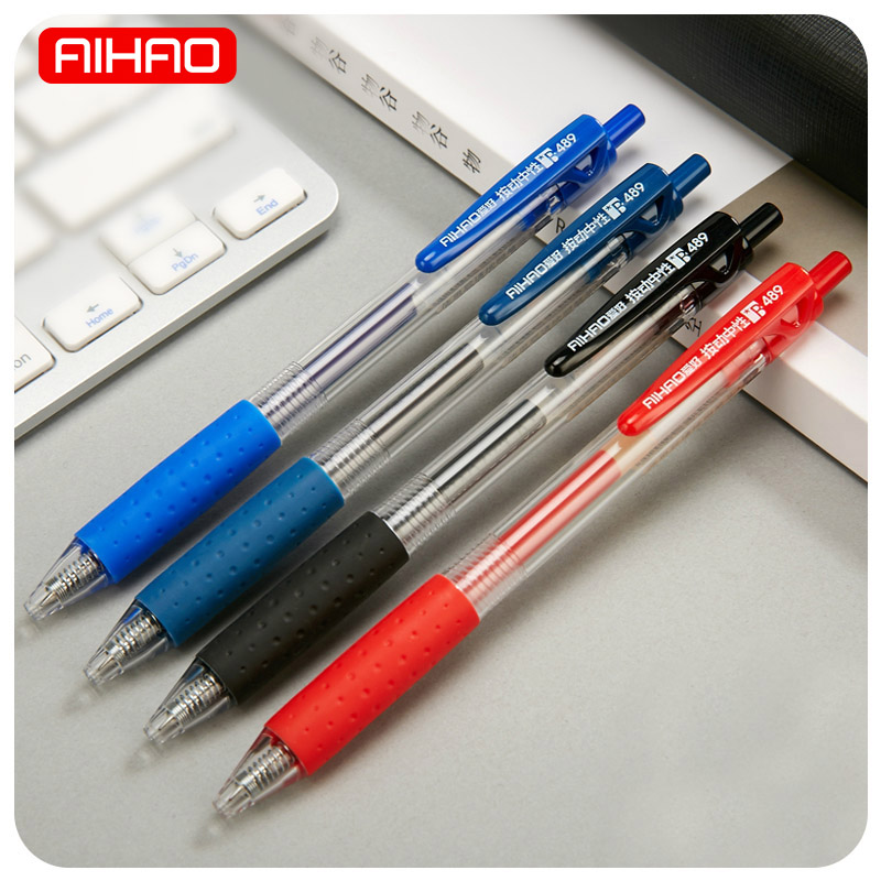 AIHAO Student Cute Kawaii Black Red Blue Ink Gel Pens Plastic Automatic Pens For Writing Office School Supplies 1535 3pcs set kacogreen liquid ink gel pen plastic student office writing pens black blue red ink school supplies stationery