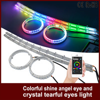 1Set Car Headlight APP Auto LED Bulbs RGB DRL Daytime Running Light Colorful Shine Angel Eyes