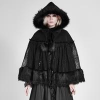 גלימת פרווה מסתורי נשים בסגנון לוליטה גותית Steampunk אופנה מזדמן סתיו החורף השחור Loose מעילים עם כובע גלימת תחרה