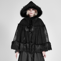Gothic Lolita Style Women Mysterious Fur Cloak Steampunk Autumn Winter Black Loose Coats with Hat Casual Fashion Lace Cape