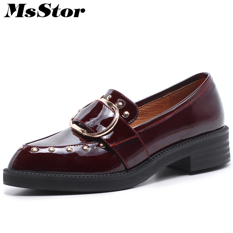 MsStor Round Toe Metal Decoration Women Flats Casual Fashion Ladies Flat Shoes 2018 New Spring Rivet Buckle Women Brogue Shoes women s shoes fashion pointed toe girls rivet flats spring autumn sexy women loafers shoes woman flat ladies low heel rivet