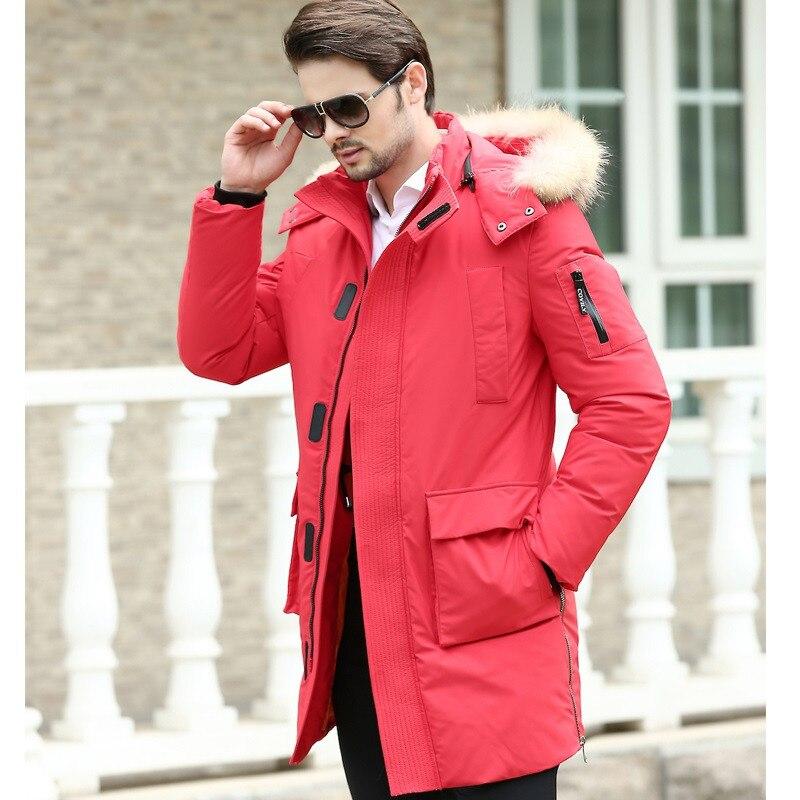 Luxury Black Real Raccoon Fur Collar Men s Winter Jacket Slim Hooded Duck  Down Jacket Men Coat Winter Parka Plus Size 4XL FYY129-in Down Jackets from  Men s ... 20499d81e
