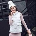 Última Moda de Invierno de Las Mujeres Abajo chaqueta de cuello de Pie Engrosamiento Súper cálida Capa Del Chaleco Abrigo de color Puro yardas Grandes Flojas SJ1154