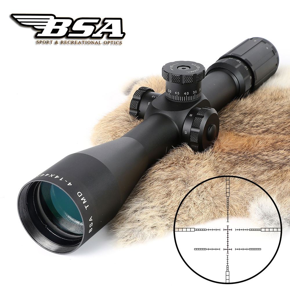 Tactical Original BSA TMD 4-14X44 First Focal Plane Side Focus MIL-MIL Rifle Scope With Lock Turret Hunting Riflescopes marcool 4 16x44 side focus front focal plane optical sights rifle scope hunting riflescopes for tactical gun scopes for adults