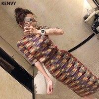 KENVY Party Dresses Fashion Women's high end Vintage Elegant Luxury Autumn Winter Color Plaid Wool Cashmere Long Maxi Dress