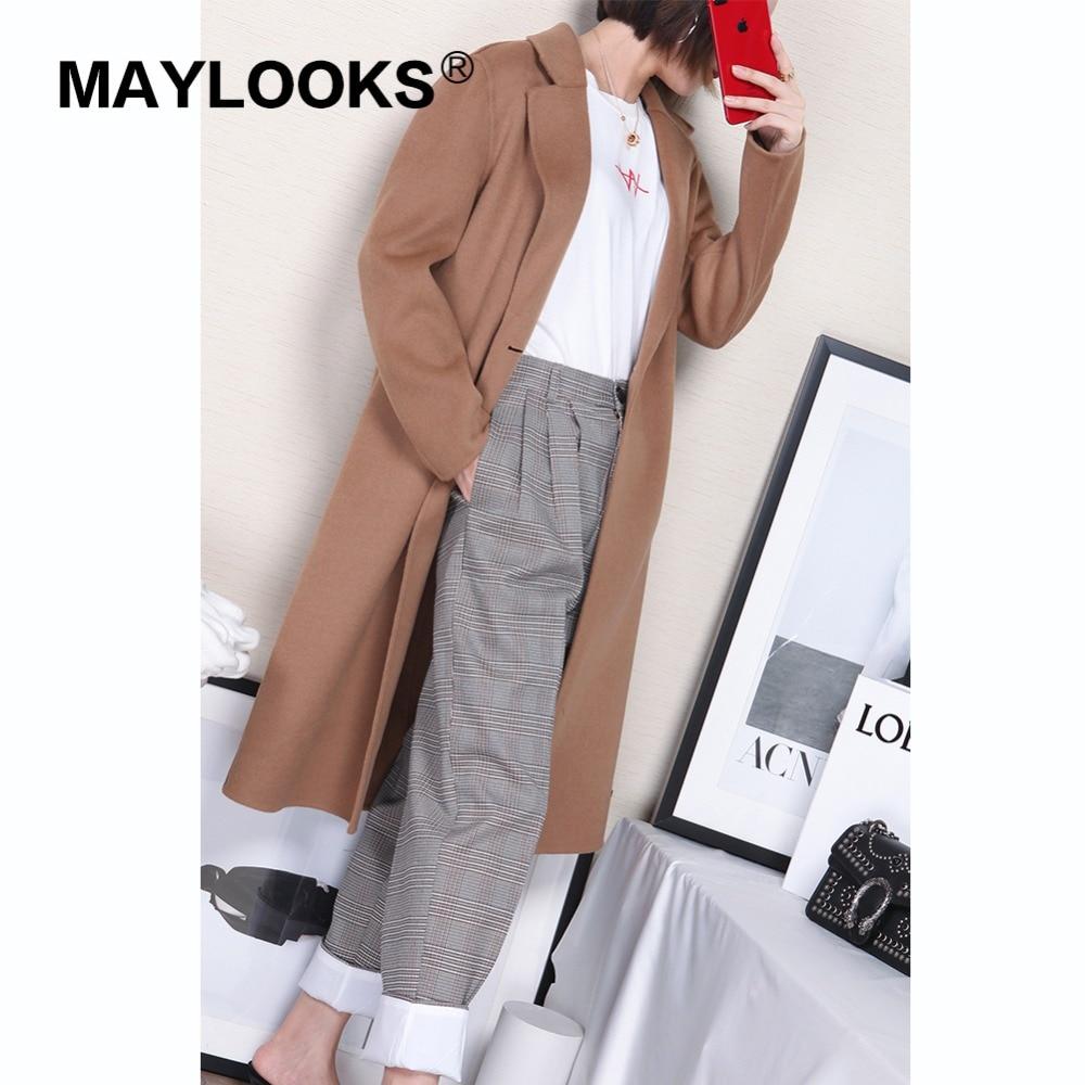 Femmes hiver Style kaki Automne Veste 37002 Long De Dame Maylooks Manteau Loisirs Solide Nouveau Laine Marron Mode dwBv1axEq