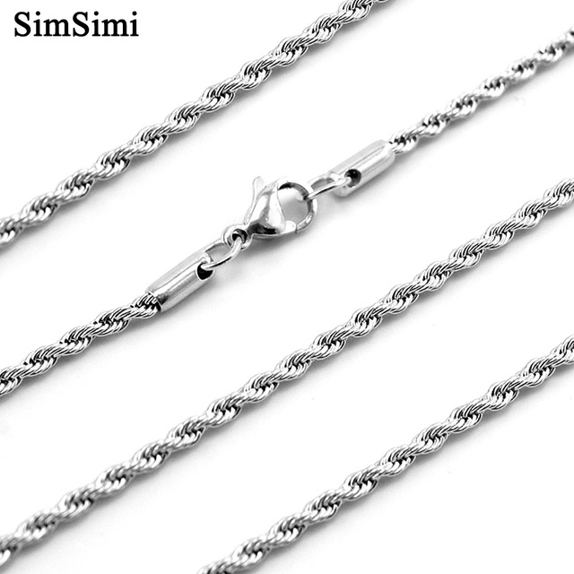 Twisted Singapore Chain Necklace Stainless Steel Steel/Gold Color Fashion Trendy Jewelry for Men Wholesale 10pcs