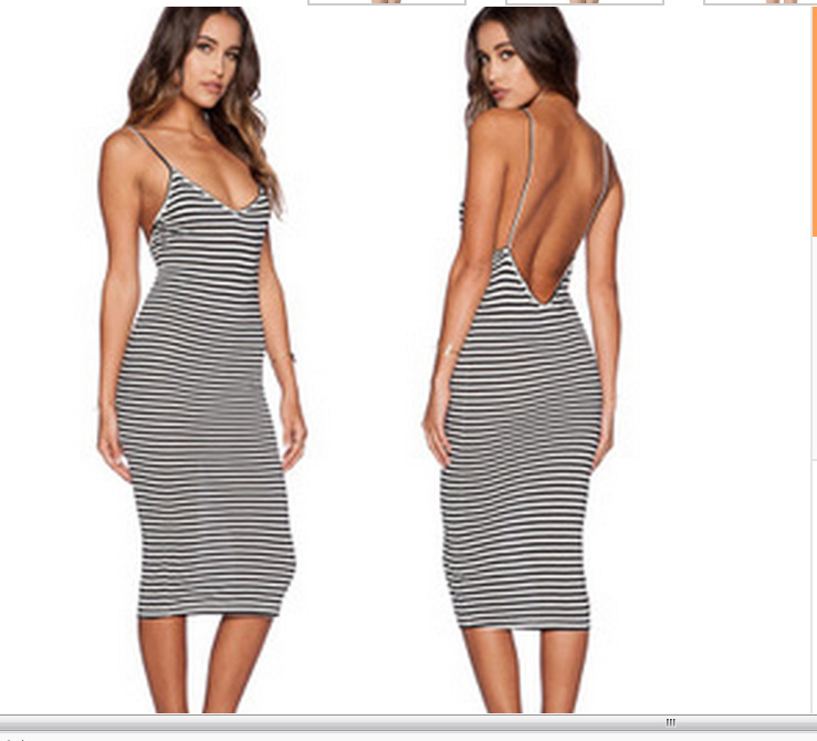Online Shop S.T Striped And Backless Sexy Tight Summer Dress Women ...