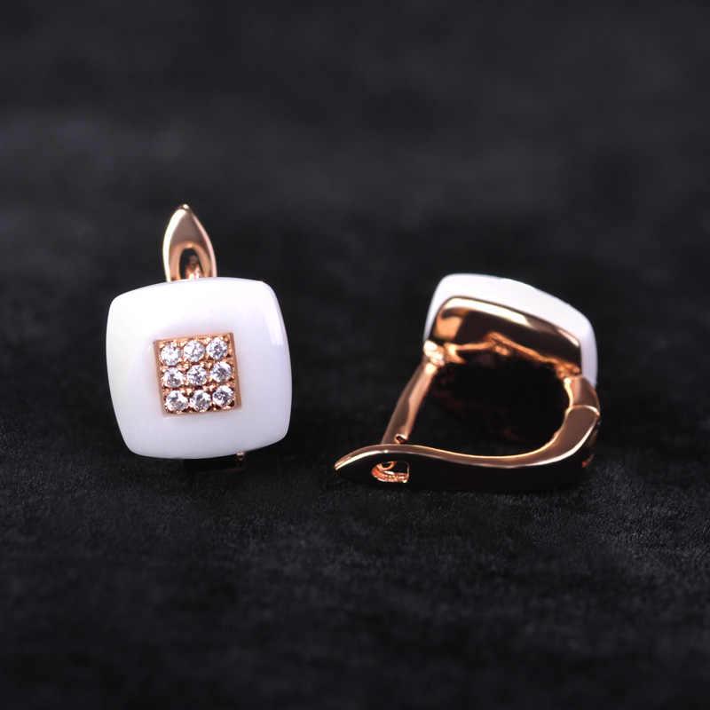 Blucome แบรนด์ Rose Gold สีสแควร์ Cubic Zircon ต่างหูเซรามิคชุดจีนชุดเครื่องประดับสำหรับผู้หญิง