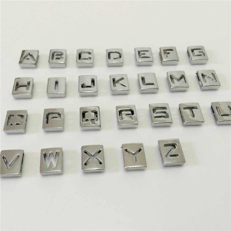 """8mm diy 실버 할로우 스퀘어 슬라이드 편지 """"A-Z"""" 편지 자유롭게 선택 8mm diy 벨트 팔찌 sl06"""